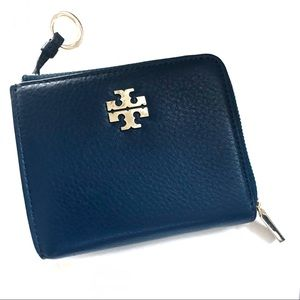 Tory Burch - blue leather coin/card holder